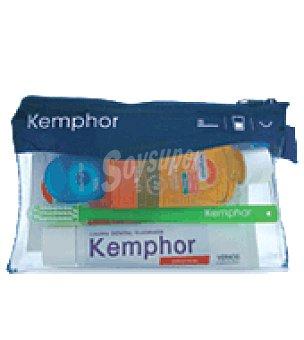 Kemphor Neceser con Pasta de diente + Frasco de elixir + Hilo dental + Cepillo pequeño Lote contiene tubo de 25 ml + bote de 5