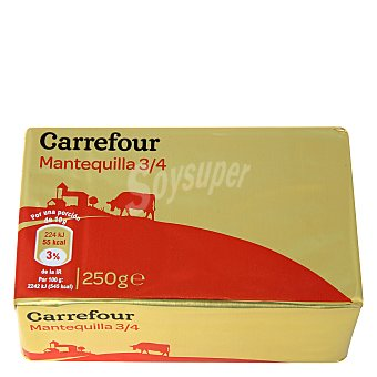 Carrefour Mantequilla tres cuartos sin sal 250 g