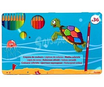AUCHAN Caja Metálica de Lápices de Colores 36 Unidades