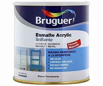 BRUGUER Esmalte decorativo acrílico, de color blanco permanente y con acabado brillante 0,25 litros