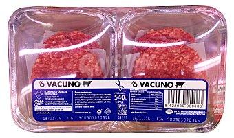 Hamburguesa vacuno burger meat fresco Bandeja 6 u