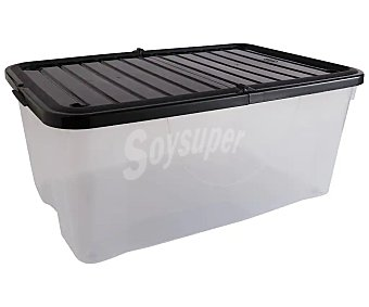 ESSENTIAL Caja de ordenación transparente con tapa color negro, , essential 40 litros