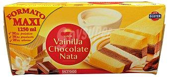 Hacendado Helado corte 3 gustos vainilla, chocolate, nata Caja 1250 cc