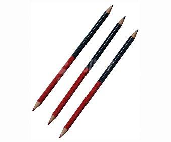 Auchan Lote de 3 lápices de grafito, con punta en los dos extremos, una de color azul y otra de color rojo 3 unidades