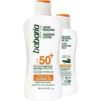 Babaria Pack leche protectora FP-50+ para pieles sensibles 200 ml + aftersun Aloe Vera 100 ml 200 ml