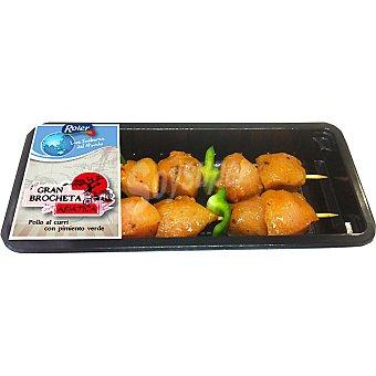 ROLER brocheta asiática de pollo al curry bandeja 250 g peso aproximado 2 unidades
