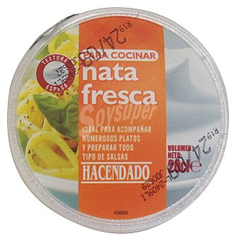 Hacendado Nata para cocinar fresca Tarrina 200 cc