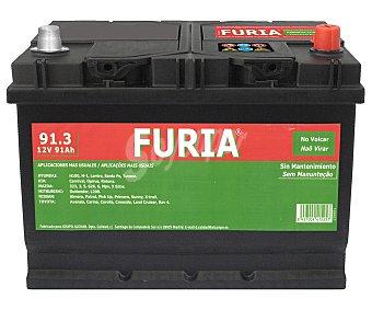 FURIA Batería de automóvil de 12v y 91Ah, con potencia de arranque de 720 Amperios y medidas:306x173x225 milímetros 1 unidad