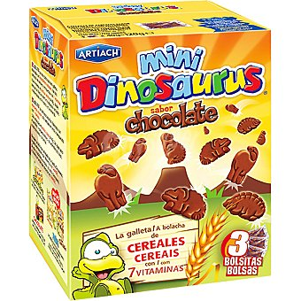 ARTIACH Mini Dinosaurus de galletas con cereales y chocolate con 7 vitaminas 3 bolsitas  paquete 120 g