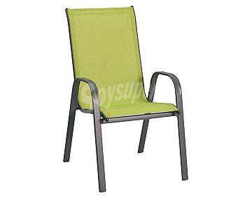 GARDEN STAR Silla fija y apilable para jardín. Fabricada en acero con asiento de textileno de color verde lima y medidas: 71x55x96 centímetros 1 unidad