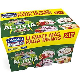 Danone - Activia Yogur fresa / coco / frutas del bosque / macedonia Danone pack de 12x125 g