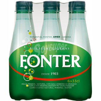 Fonter Agua mineral con gas Pack 6x33 cl