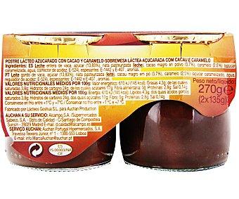 Auchan Postre lácteo sabor trufa 2 unidades de 135 gramos