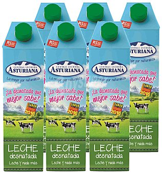 Central Lechera Asturiana Leche Desnatada Pack 6x1 litro