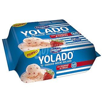 Yolado Danone tu Danone hecho helado con yogur y fresas Pack 4 unidades 78,25 g