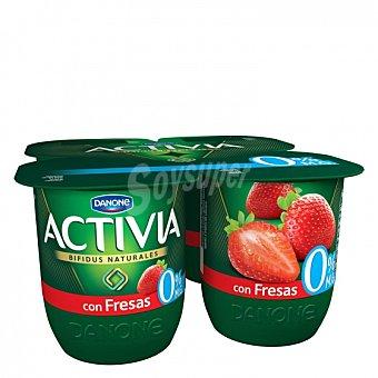 Activia Danone Yogur bífidus desnatado con fresas Pack de 4 unidades de 120 g