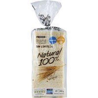 Eroski Pan molde 100% natural sin corteza Paquete 450 g