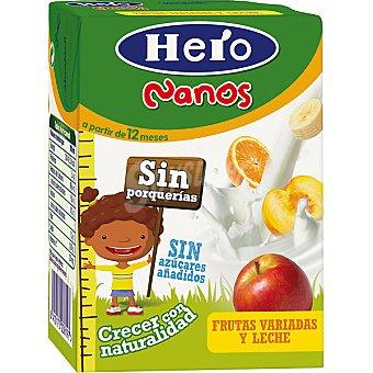 Hero Baby Zumo de frutas variadas y leche 100% natural sin azúcares añadidos Nanos Envase 200 ml