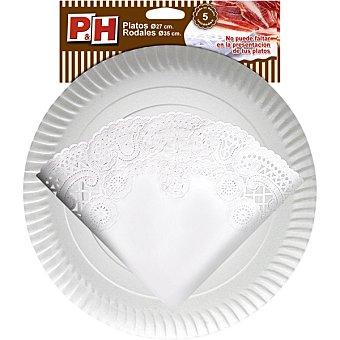 P & H Rodal 35 cm con plato de cartón 27 cm Estuche 5 unidades