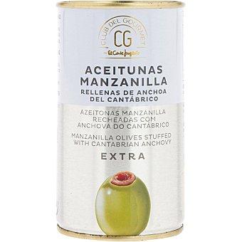 Club del gourmet Aceitunas manzanilla rellenas de anchoas de cantábrico Lata 150 g neto escurrido