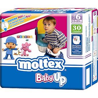 MOLTEX Baby Up Pañales talla 6 ( de 15 a 23 kg) bolsa 30 unidades