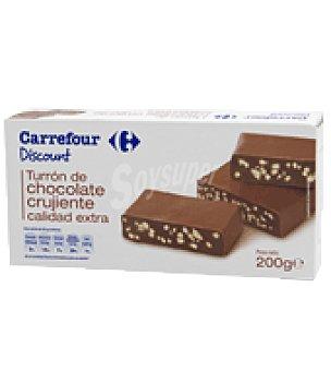 Carrefour Discount Turrón de chocolate crujiente 200 g
