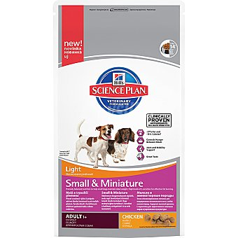 HILL'S SCIENCE PLAN ADULT LIGHT Small & Miniature Alimento especial para perros adultos de raza pequeña con pollo Bolsa 1,5 kg