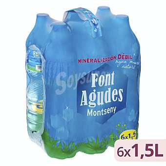 Font Agudes Agua mineral natural Pack 6 x 1500 ml - 9 l