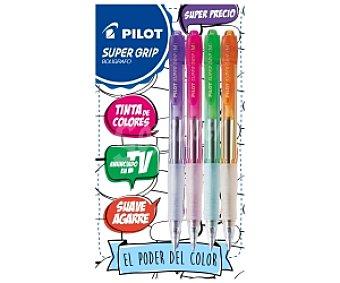 Pilot Bolígrafos con Agarre Suave Tinta Super Suave y Retráctiles de Diferentes Colores (Morado,Rosa,Verde,Naranja) Super Grip 4 Unidades