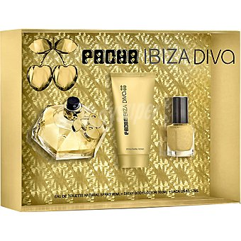 PACHA IBIZA Queen Diva eau de toilette natural femenina + shiny body lotion tubo 100 ml + laca de uñas Spray 80 ml