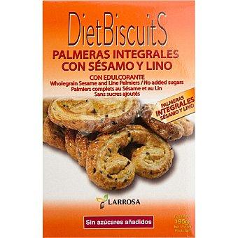Larrosa Palmeras integrales con sésamo y lino sin azúcares añadidos y con edulcorantes Envase 195 g