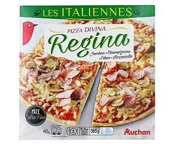 Auchan Pizza de casa fina con jamón y queso 365 gramos