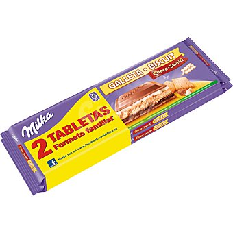 Milka Choco Swing. Chocolate con galleta formato familiar pack 2 tableta 300 g