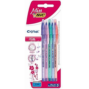 BIC Cristal Miss Pack 5 bolígrafos de punta media con cuatro colores con 'efecto diamante' Pack 5