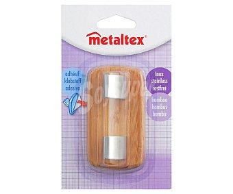 METALTEX Percha doble de bambú y acero inoxdable 1 Unidad