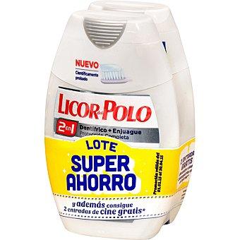 Licor del Polo Dentífrico con elixir 2 en 1 blanqueador avanzado Pack 2 frasco 75 ml