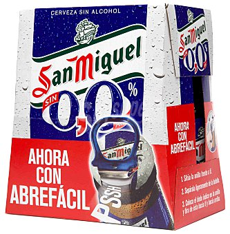 San Miguel Cerveza sin alcohol 0,0% 6 botellas de 25 cl