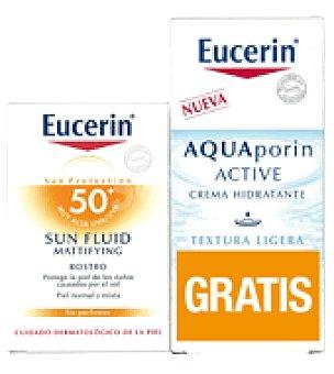 Eucerin Pack Fluído Solar Matificante SPF50+ + Regalo Crema Aquaporin Facial 50ml 50 ml