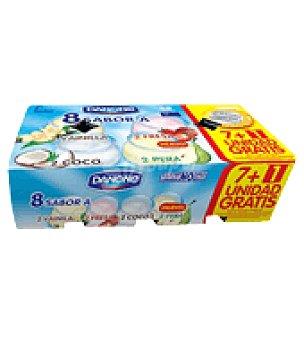 Danone Yogures sabores fresa, coco, vainilla y pera pack de 8ud de 125gr