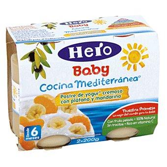 Hero Baby cocina mediterránea yogur cremoso con plátano y mandarina 2x200gr
