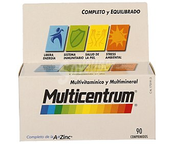 MULTICENTRUM Multivitamínico para adultos (complemento alimenticio con vitaminas, minerales y luteína) 90 unidades