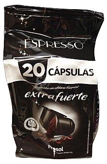 PROSOL Café cápsula (compatible con cafetera sistema nespresso) extrafuerte Paquete de 20 uds