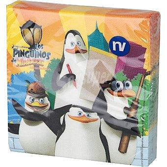 NV CORPORACION servilletas decorado Los Pingüinos de Madagascar 33x33 cm paquete 20 unidades