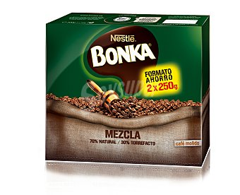 Bonka Nestlé Café molido mezcla 70% natural, 30% torrefacto Pack de 2x250 g