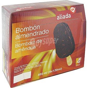 Aliada Bombón almendrado de helado de vainilla estuche 480 ml 4 unidades