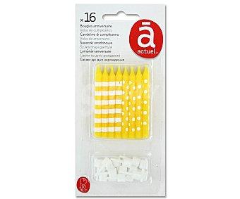 ACTUEL Velas de cumpleaños color amarillo con rayas o lunares 16 Unidades