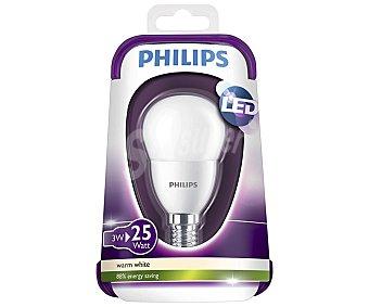 Philips Bombilla led esférica 3 Watios, con casquillo E14 (fino) y luz cálida 1 unidad
