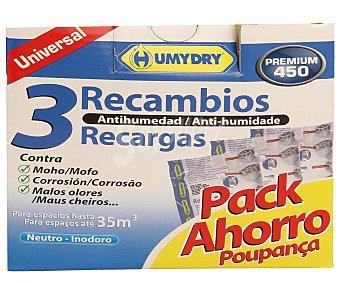 Humydry Recambio de Ambientador Antihumedad Inodoro Pack 3 Unidades de 450 Gramos
