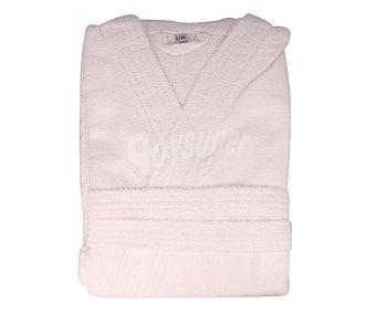 Productos Económicos Alcampo Albornoz para adulto, rizo 100% algodón color blanco, 340 gramos/m², talla S-M 1 unidad 1 unidad