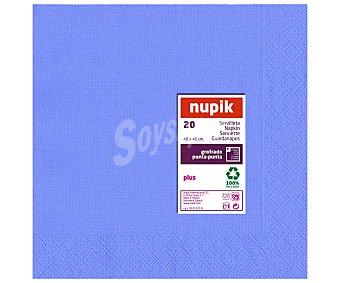 Nupik Servilletas desechables color azul turquesa, 40x40cm., doble capa 20 unidades